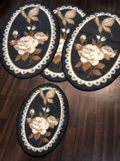 ROMANY GYPSY WASHABLES NON SLIP SET OF 4 MATS/RUGS DARK GREY GOOD THICK MATS